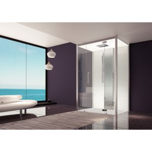 Steam cabin SensePerience 1000x1000 back-to-wall, with anti-slip coating