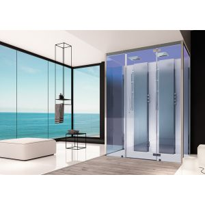 Steam cabin SensePerience 1600x1000 back-to-wall, with anti-slip coating