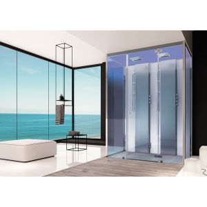 Steam cabin SensePerience 1600x1000 back-to-wall, without shower tray