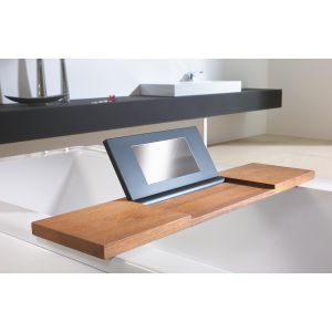 Bathtub tray made of water resistant teak wood and PU pad with integrated mirror