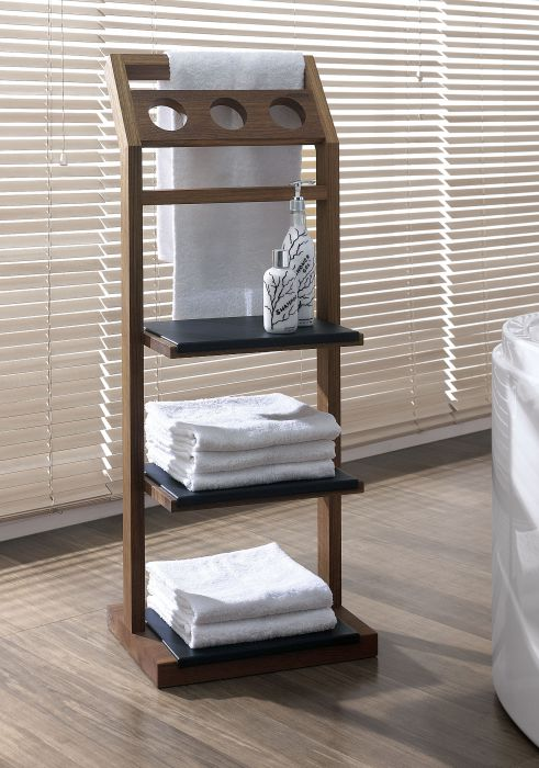 Valet stand made of water-resistant teak wood and PU pad