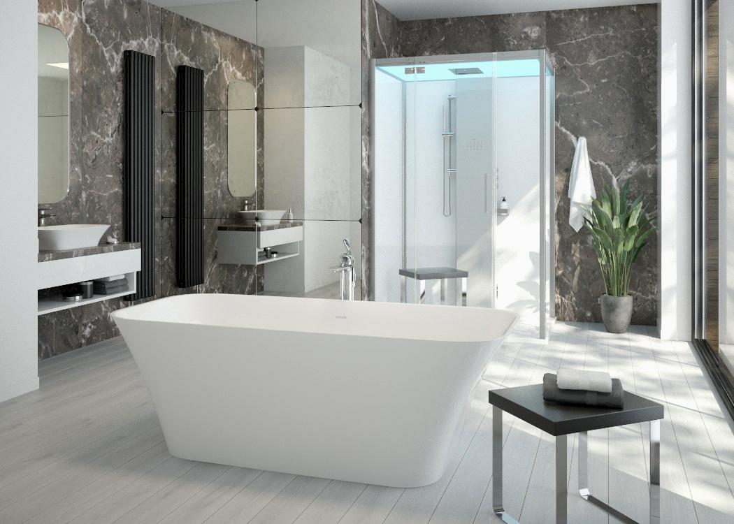 Die neue Badewannen- und Waschbecken-Serie Leros aus nachhaltigem Solique – magische Vierecke mit eleganter Wölbung