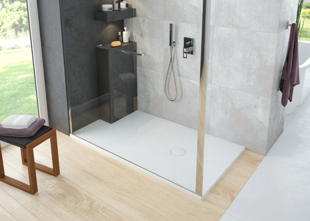 The versatile new NIAS shower tray – made from innovative Solique with a premium structured look and feel.